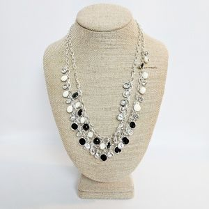 WHBM Two Strand Silver/Black/White Necklace